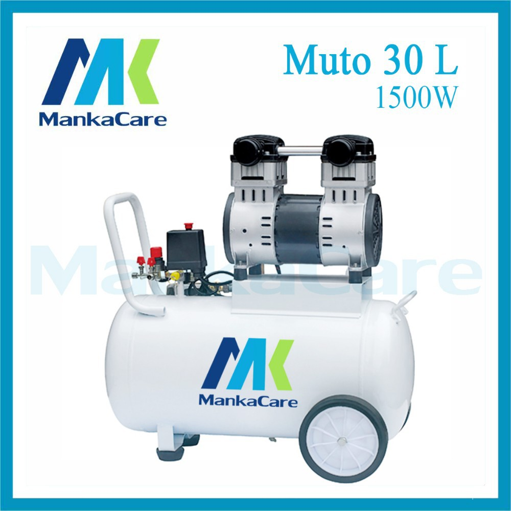 Manka Care - 30L 1500W Dental Air Compressor/Printing in Tank/Rust-Proof Chamber/Silent/Oil Less/Oil Free,/Compressing Machine