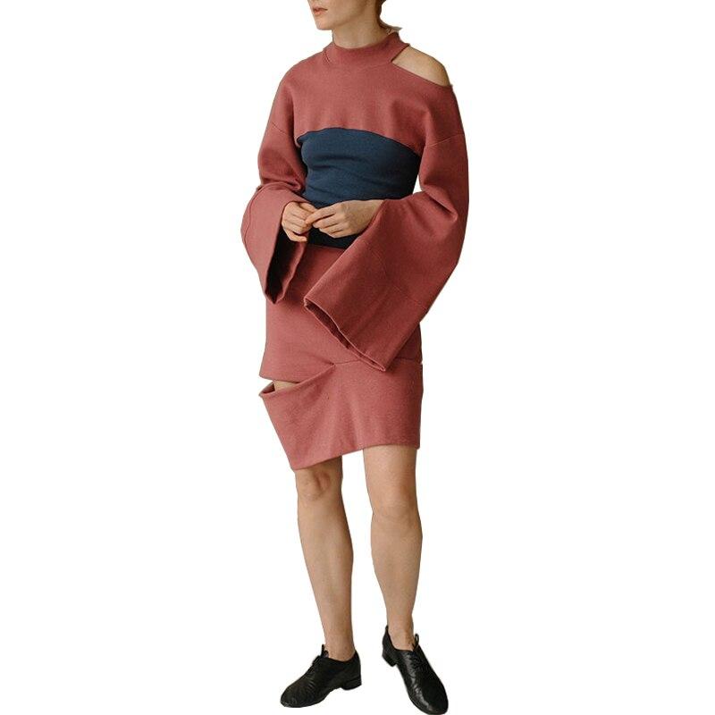 AEL Hoodie Stil Frau Kleid Baumwolle Wassermelone Rot Split Joint Getäfelten Breite Ärmeln Sweatshirt Mode Straße Sportswear 2019-in Kleider aus Damenbekleidung bei  Gruppe 1