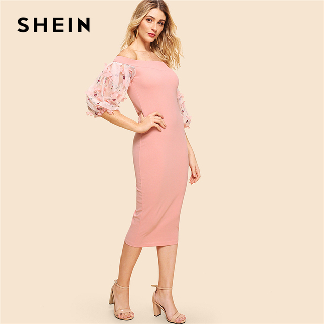 ceadfcc776e45 US $30.0 |SHEIN Pink Party Elegant Off Shoulder Embroidery Flower Applique  Contrast Mesh Bishop Sleeve Dress Summer Women Going Out Dress -in Dresses  ...