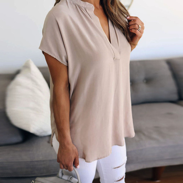 Summer Solid Chiffon Plus Size S-5XL Women Ladies Sexy V-Neck Short Sleeve Casual Shirt Tops Blouse Wholesale N4
