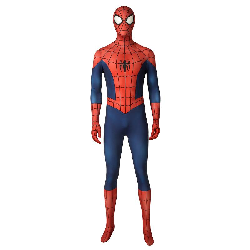 Ultimate Spider-Man Season1 Costume Spiderman Peter Parker Cosplay Jumpsuit Halloween Superhero Zentai Bodysuit Mask Sole Outfit