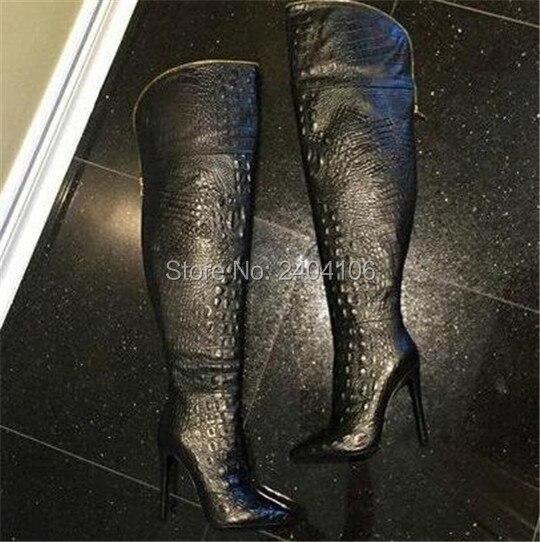 Automne Hiver Dames Chaussures Talons Hauts Alligator En Cuir Gaufré Noir Cuisse Haute Bottes fermeture à glissière or Femmes Chaussons Au-dessus Du Genou