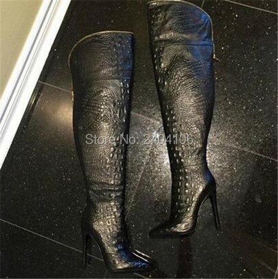 Autumn Winter Ladies Shoes High Heels Alligator Embossed Leather Black Thigh High Boots Gold Zipper Women Booties Over The KneeAutumn Winter Ladies Shoes High Heels Alligator Embossed Leather Black Thigh High Boots Gold Zipper Women Booties Over The Knee
