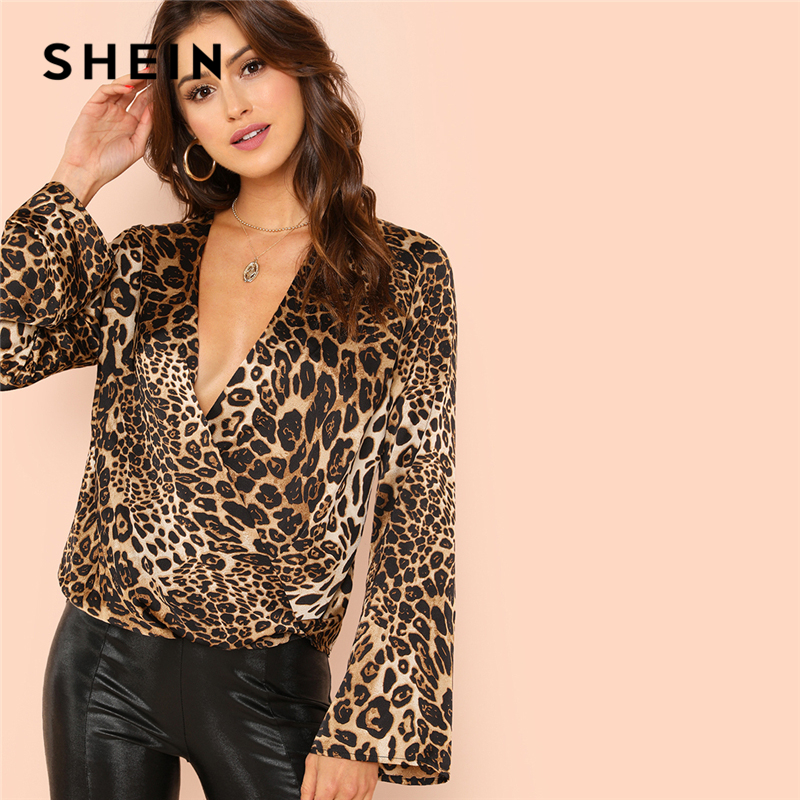SHEIN Flounce Sleeve Surplice Wrap Top Multicolor Leopard Deep V Neck Ruffle Blouse Women Autumn Casual Pullovers Blouses Top