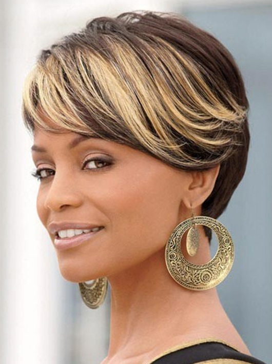 Ombre Short Wigs For Black Women Black Rooted Side Bangs Blonde