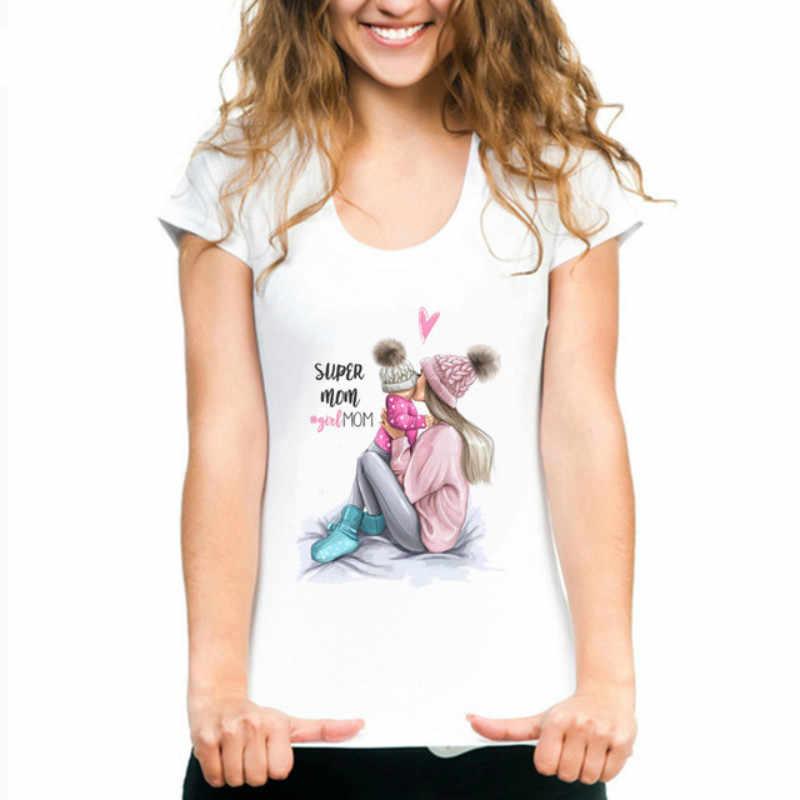 母の愛の Tシャツママと Duaghter 白 Tシャツ夏半袖女性 Tシャツトップ 2019 ヴォーグ T シャツ