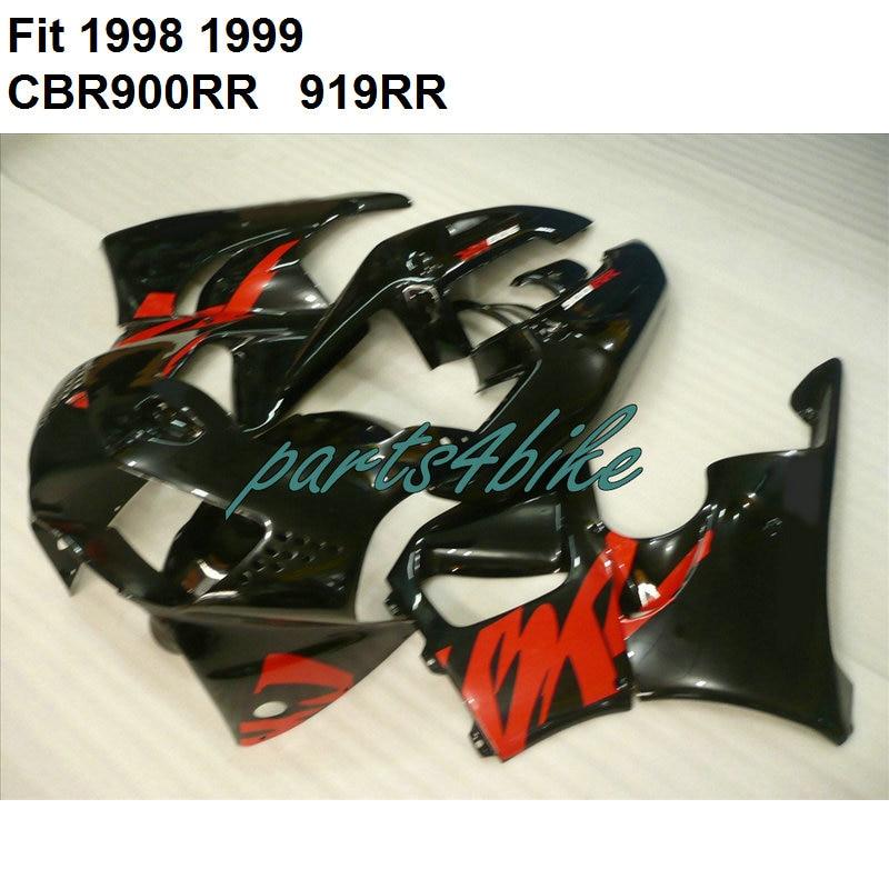 Bodywork Kit For Honda Fairings CBR900RR 1998 1999 Black Red Fairing CBR 919RR 900RR 98 99 7 Gifts IY52