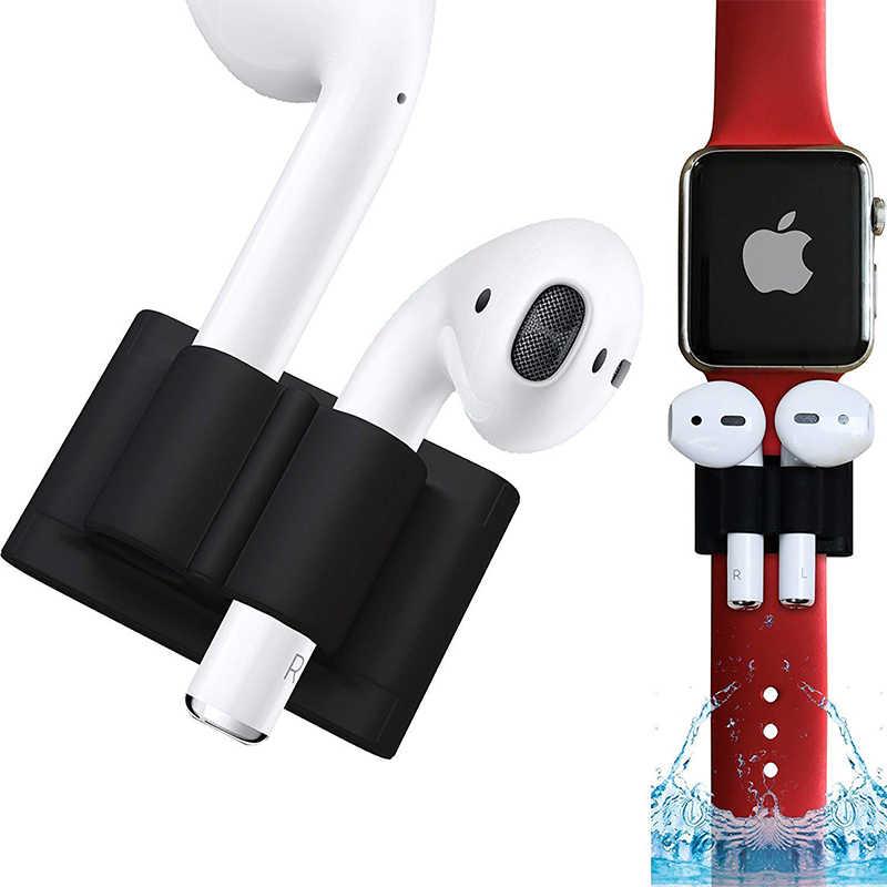 Ascromy silicone pulseira de relógio titular para airpods apple sem fio fones anti perdido protetor envoltórios para airpods acessórios