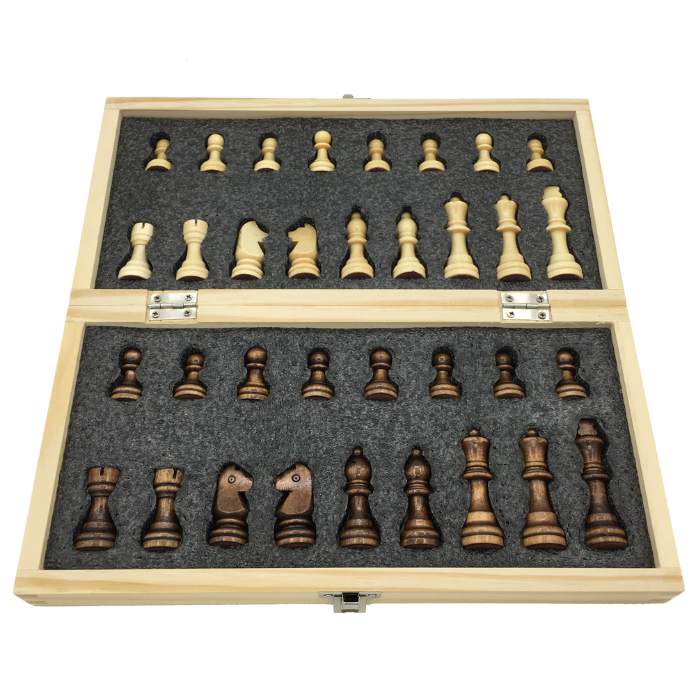 Wooden Chess Set Folding Chessboard With Magnetic Chess Board Size 29 cm x 29 cm Children Gift Tournament Chess Board Game foldable magnetic folding shogi set boxed portable japanese chess game sho gi exercise logical thinking 25 25 2 cm