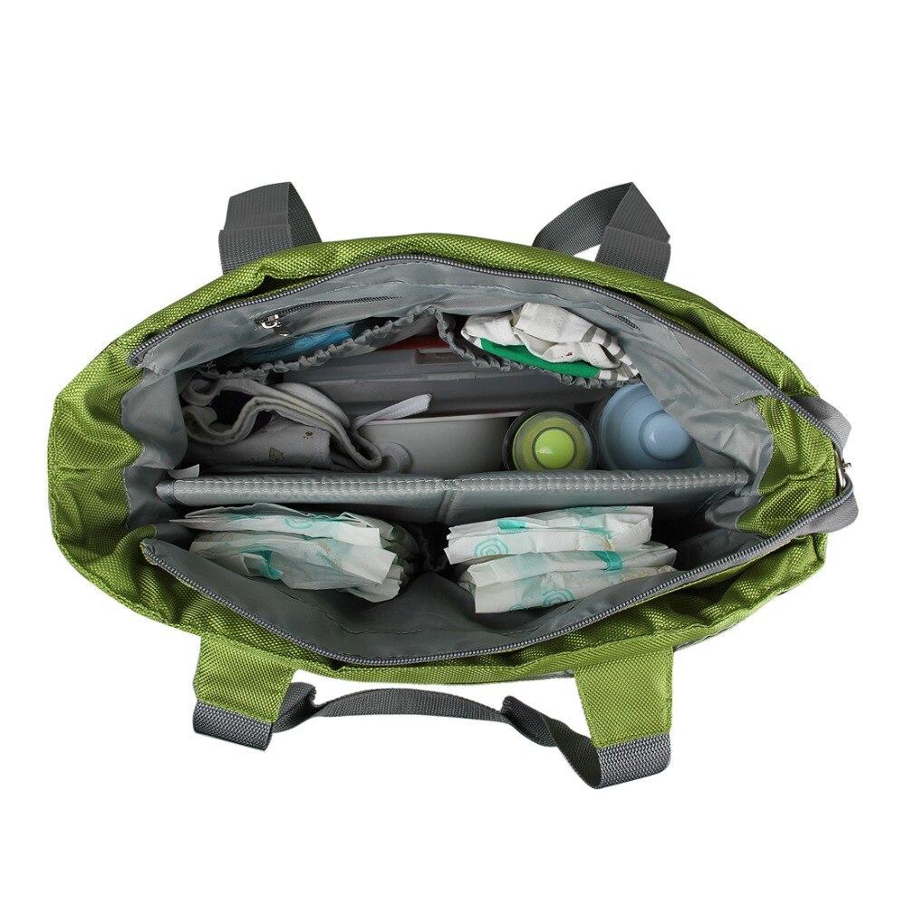 Bolsa de pañales para bebé mommore bolsa de pañales verde con almohadilla cambiante bolsas grandes para mamá bolsos de mano impermeable para cochecito de bebé - 5
