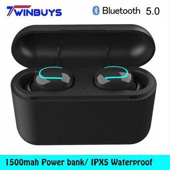 Nuevos Auriculares Bluetooth 5,0 TWS inalámbricos, auriculares IPX5 resistentes al agua, auriculares estéreo deportivos, graves profundos para iphone, samsung, HBQ