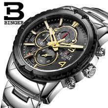 Suiza relojes hombres marca de lujo pulsera BINGER cuarzo reloj militar multifuncional cronómetro glowwatch B6011-2