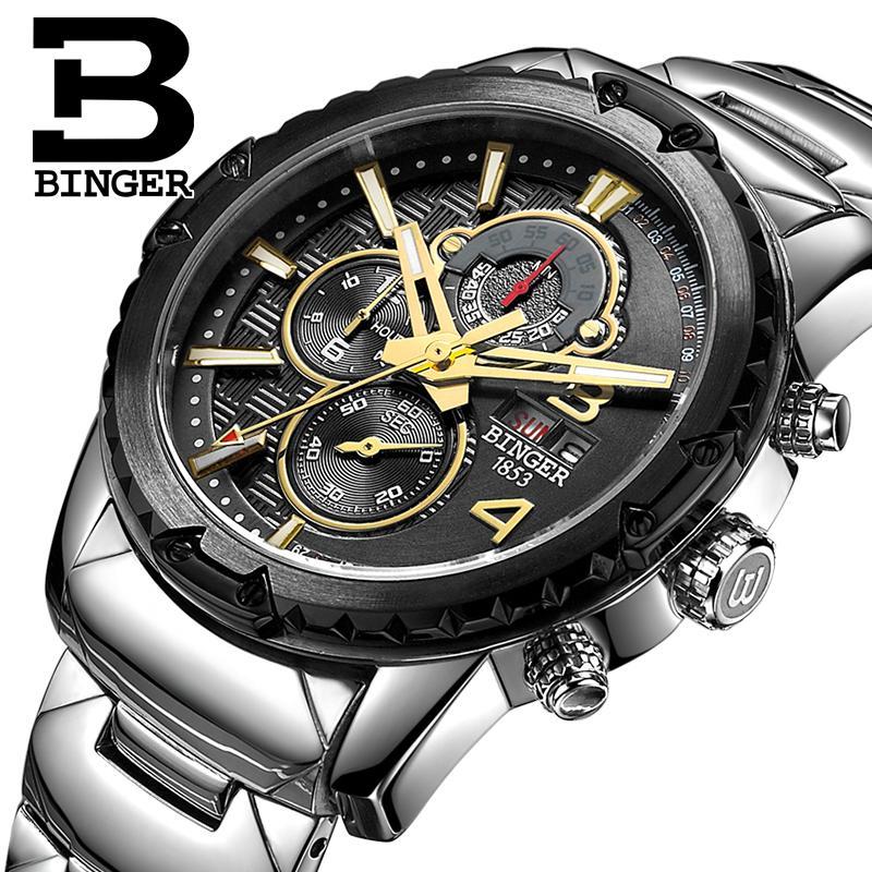 Switzerland men's watch luxury brand clock BINGER quartz men watches multifunctional military Stop Watch glowwatch B6011-2