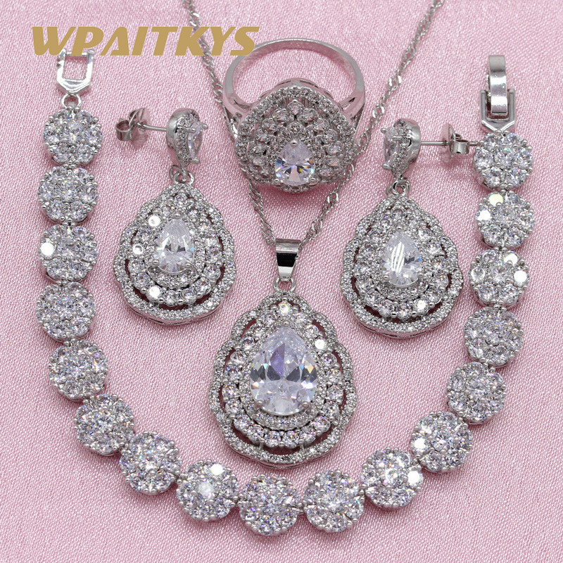 Exquisite Pure White Cubic Zirconia 925 Silver Jewelry Sets For Women Wedding Necklace Drop Earrings Bracelet Ring Free Gift Box wpaitkys trendy white opal 925 silver jewelry sets women s wedding necklace earrings ring bracelet free box