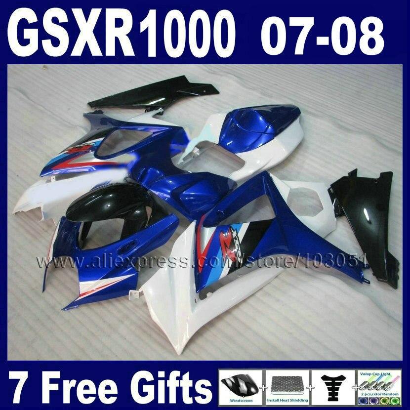 ABS пластик обтекатели комплект для Suzuki 2007 2008 GSXR 1000 GSXR1000 К7 07 08 белый синий обтекатель части тела+крышка сиденье