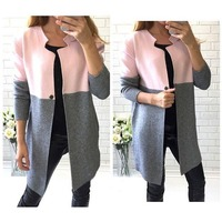 The New Arrival Women Coat Full Sleeve Patcwork Single Button Slim Regular O Neck Women Coat