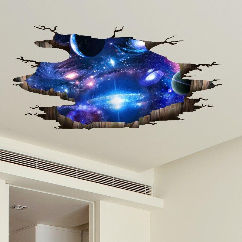 [SHIJUEHEZI] Universum Galaxy 3D Visuelle Wirkung Decke Aufkleber DIY Milchstraße Wand Kunst für Kinder Zimmer Wc Boden dekoration