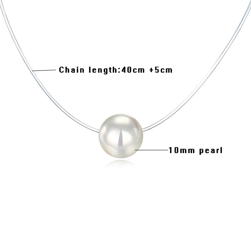Fashion Transparent Fishing Line Necklace Simple Invisible Chain Women Necklace White Pearl Choker Necklace For Women