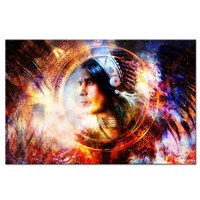 Abstract Colorful Canvas Wall Art Native American Indian Woman With Feathered Headdress Picture Prints On