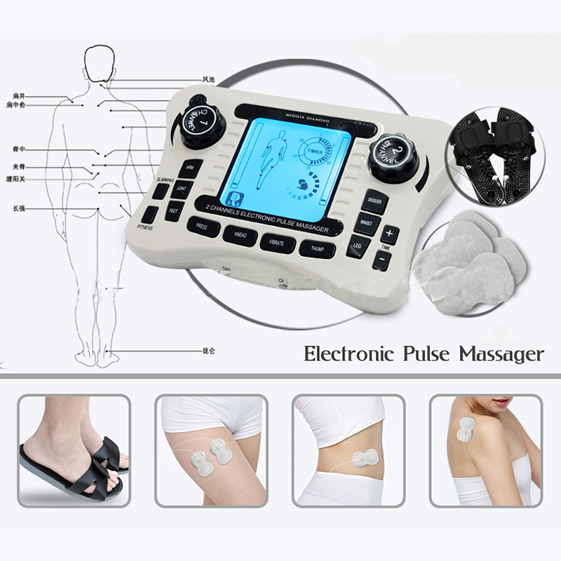 Dual channel output TENS UNIT EMS pain relief Electrical nerve muscle stimulator Digital therapy massager Physiotherapy