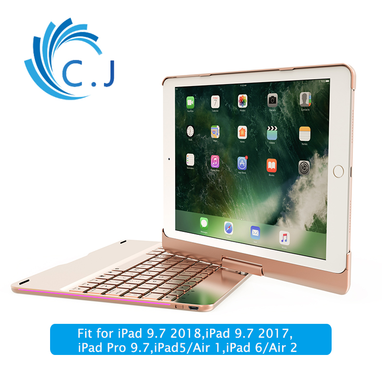 Ultra thin Smart Wireless Bluetooth Keyboard Case Cover 360 Rotation for 2018 2017 iPad9 7 iPad