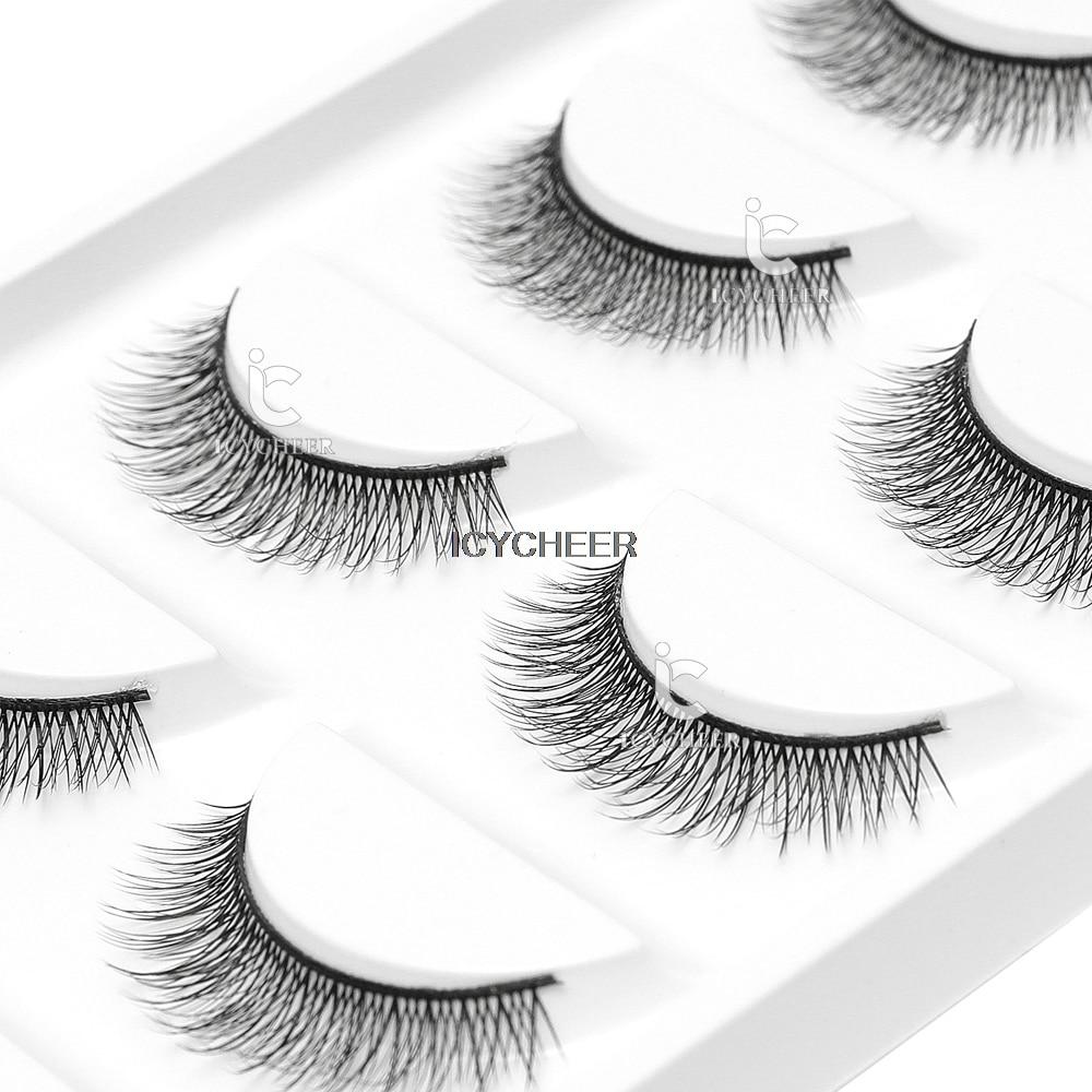 ICYCHEER 5 Pairs Natural Long 3D Acrylic False Eyelashes Makeup Handmade 0.07 Thick Fake Eye Lashes Extension Tools
