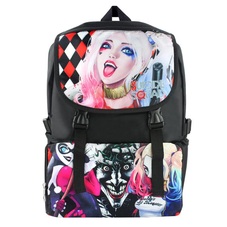 17 Suicide Squad Harley Quinn Backpack School Bag Nylon Waterproof Laptop Backpack/Travel Double-Shoulder Bag/School Bag suicide squad vol 5 apokolips now
