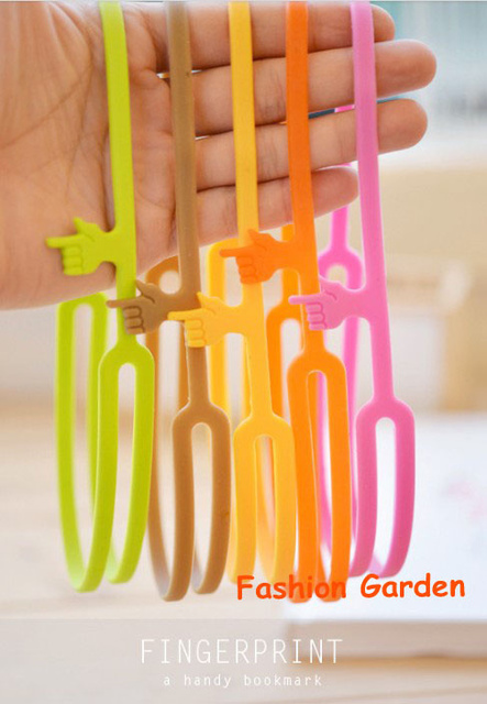 Free Shipping 100pcs/lot Stock 100% Silicone Bookmarks Favor  Five Colors Finger Bookmarks Wholesale Study Bookmarks Mix colors