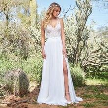 7566f8691 LORIE Boho vestido de novia cuello en V apliques encaje top chifón falda  lateral Split princesa vestido de novia Cuatom hecho ve.