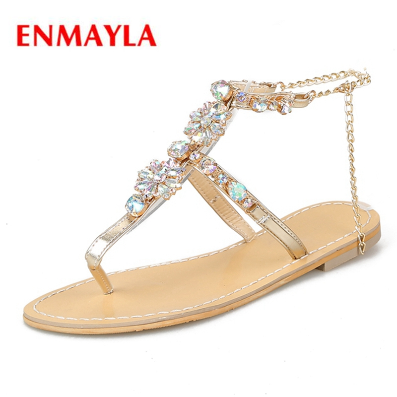 ENMAYLA New fashion summer women  square heel crystal bling sandals lady sweet ZYL447