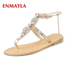 ENMAYLA New fashion summer women  square heel crystal bling sandals lady sweet ZYL447