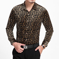 HOT 2015 autumn and winter new men clothing Flower long-sleeve shirt leopard print gold velvet shirt singer costumes nightclub