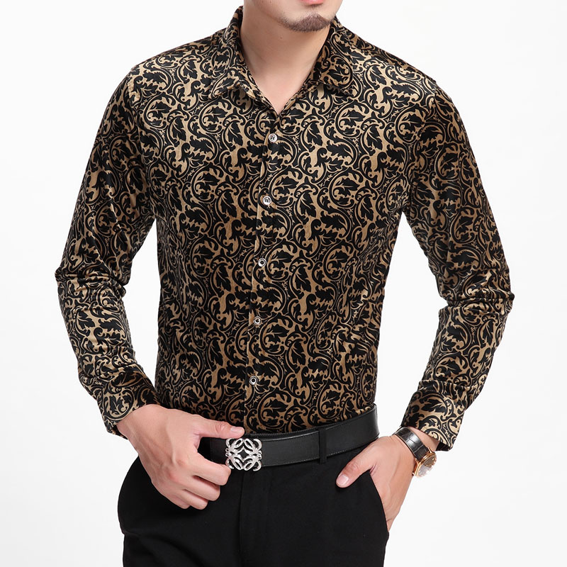 HOT 2017 autumn and winter new men clothing Flower long-sleeve shirt leopard print gold  ...