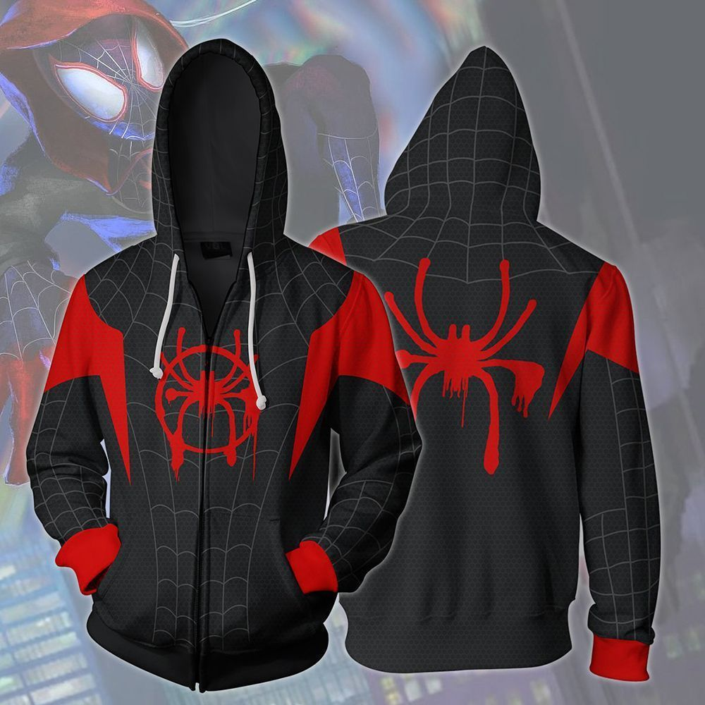 Cosplay Spiderman Into the Spider Verse Miles Morales Hoodie Coat Sweatshirts Spider Verse Costumes Men Zipper Hooded Jacket
