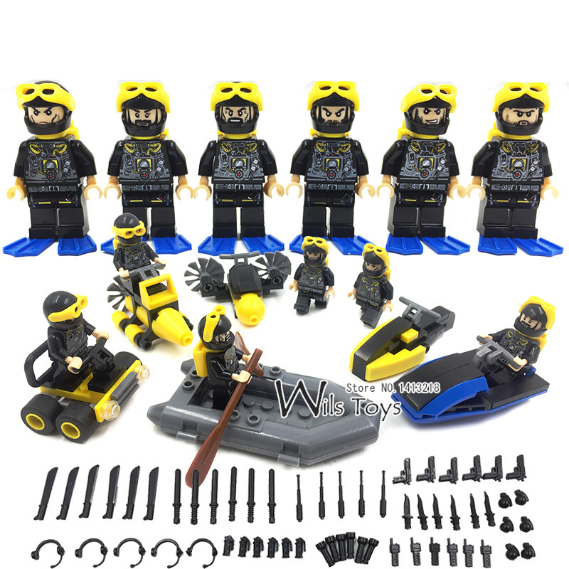 6pcs Frogman Army MILITARY Soldier US Navy Seals Team UDT WW2 Special Forces SWAT Diver Building Blocks Bricks Figures Toys Boy 6pcs swat military army riot police officer special weapons minifigures building blocks bricks kid baby boy toys