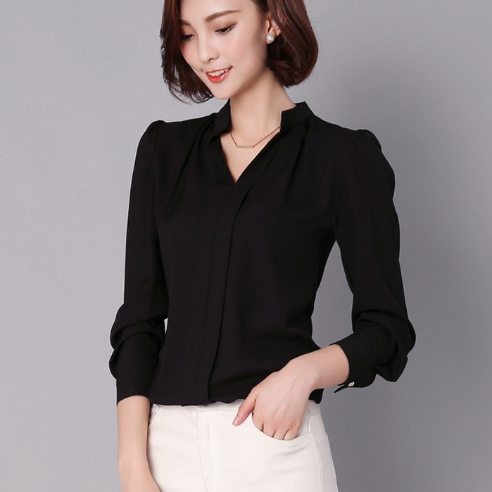 5 Colors 2020 Solid Blouse Women White OL Shirt Chiffon Women Work Wear V-neck Ruched Long Sleeve Tops Pullover  T6127