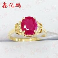 18 k золото инкрустированные натуральный бирманский Рубин кольцо female1.3 карат