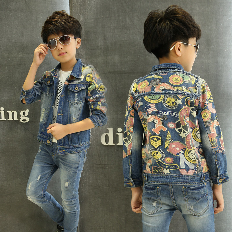 High Quality Print Denim Jacket For Boys Jacket Clothes For Teens Ripped Denim Coats Spring Boys Outerwear Coat for Boys chic mid waist button design ripped denim shorts for women