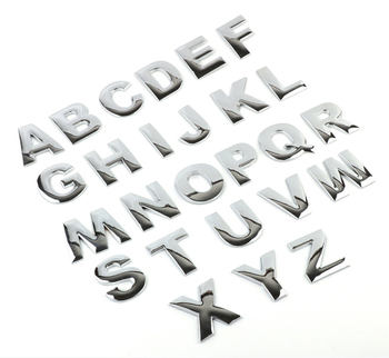 25mm 3D Metallic Alphabet Logo Car Stickers Car Emblem Letter Silver Black Badge Decal For BMW Audi Honda Mercedes Ford Mazda image