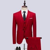 3pc Red Suit Men Brand New 2019 Slim Fit One Button Tuxedo Business Formal Wear Party Dress Suits Men's Clothing Plus Size 6XL M