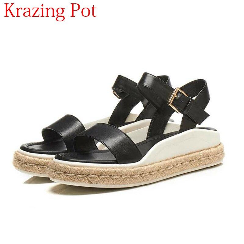 2018 nouveauté cuir pleine fleur Peep Toe fait à la main semelles de paille talons Med fond épais Streetwear concis élégant sandales L55