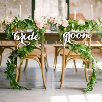 Wooden Hanging Signs Chair Banner DIY Chair Decor for Wedding Decoration Engagement Party Supplies Mr & Mrs Bride & Groom