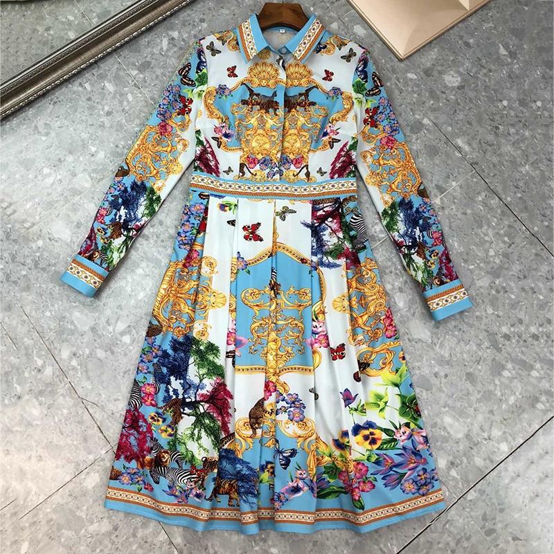 Luxury Brand Woman European Dress 2018 Women A-line Dress 2018 Autumn Winter Long Sleeve  Mid-calf Length Dress Female