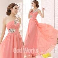 long dress Gown 2017 Long Pink Design Formal evening gown wedding party dress Floor length Chiffon