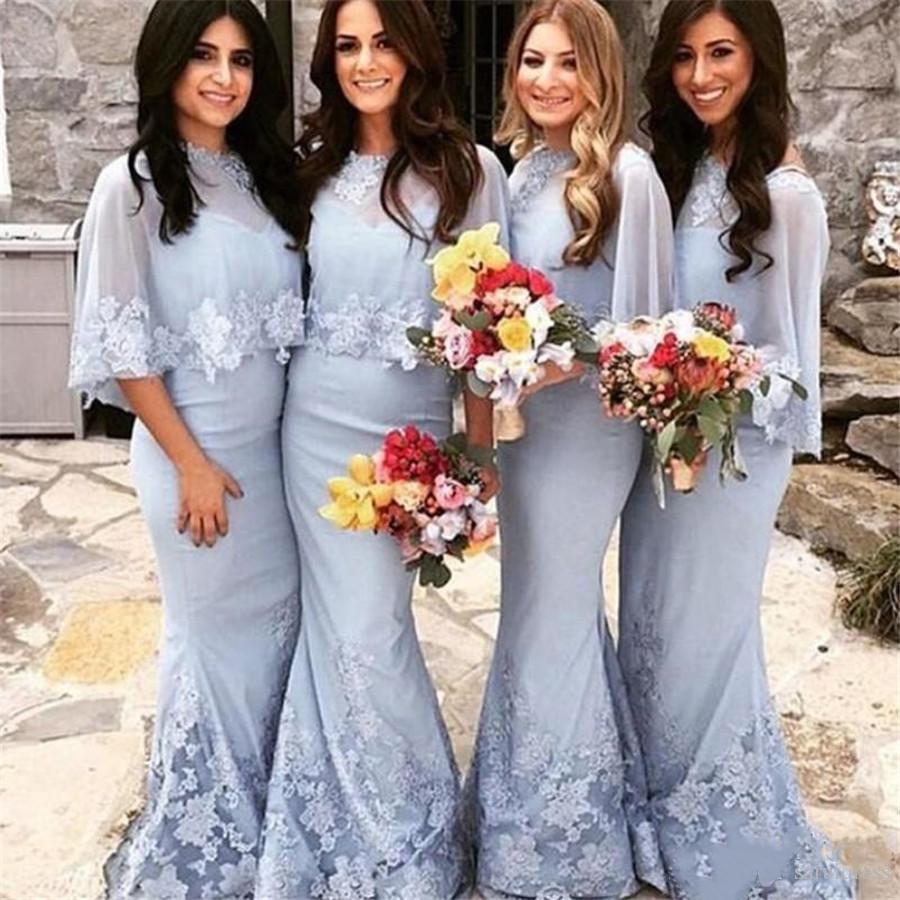 2019 Wedding Party Gowns Mermaid Zipper Backless Sexy Sweetheart Long   Bridesmaid     Dresses   With Wrap Maid Of Honor Dres
