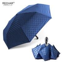 Business Dark Grid Automatic 3Folding Umbrella Rain Women Windproof Aluminum Alloy Umbrella For Men Travel Family Big Umbrellas