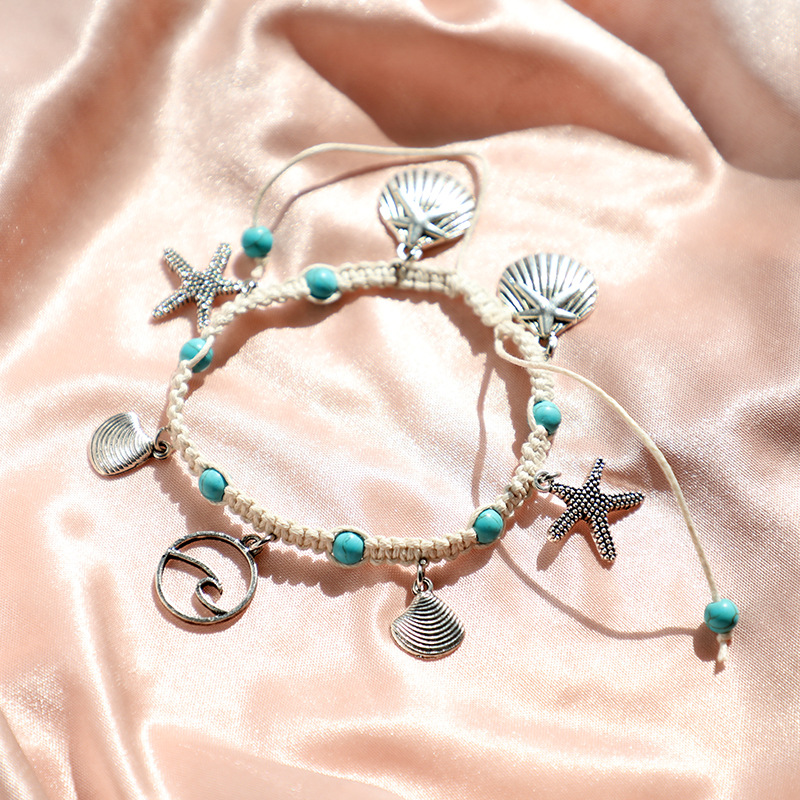 Fashion Bohemia Natural Stone Woven Bracelet Starfish Shell Pendants Anklet For Women Girl Jewelry Accessories Wholesale 3