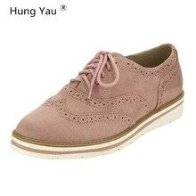 Hung Yau Women Flats Platform Shoes Brogue Oxfords Leather Shoe For Female Lace Up Footwear Thick Bottom 5 Color Plus Size 35-43
