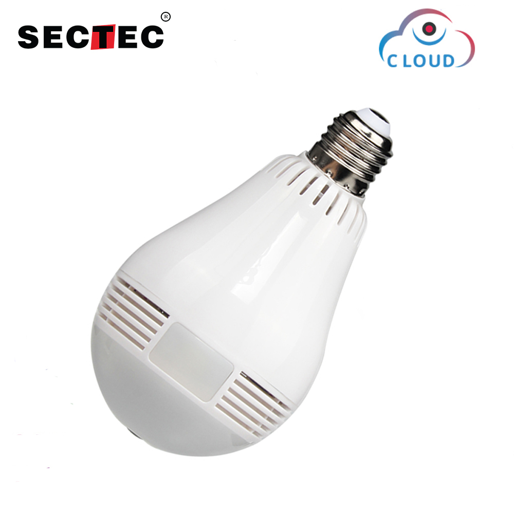 SECTEC 960P Cloud Wireless IP Camera Bulb Light Panoramic Fisheye Home Security Surveillance 360 Degree 3D VR k CCTV WIFI Cam