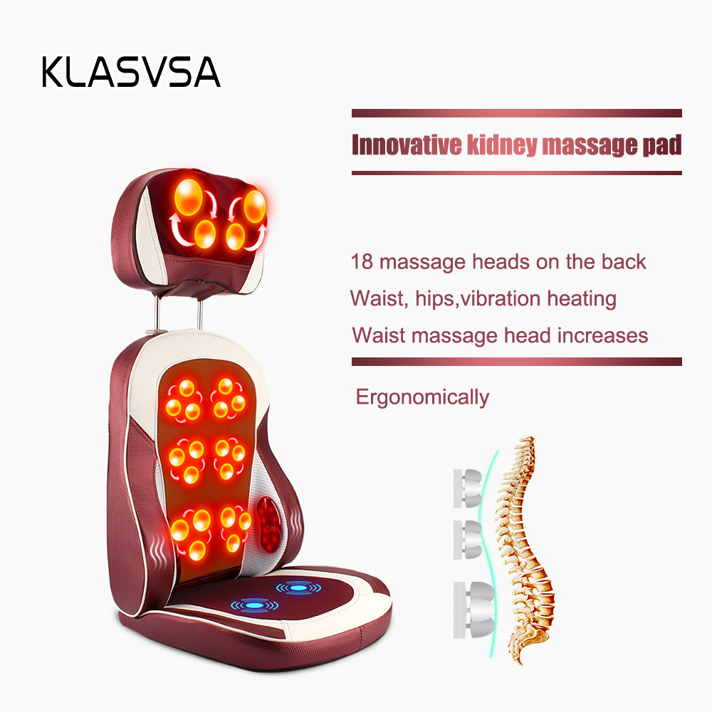 Image 3 - KLASVSA Eelectric Heating Kneading Massage Chair Infrared Physical Therapy Neck Pillow Back Massage Relax Seat Cushion Vibrator-in Massage & Relaxation from Beauty & Health
